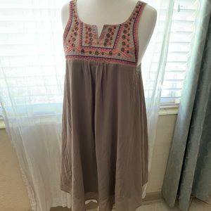 umgee brown embroidered dress size small NEW